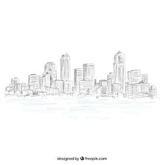 Schetsmatig skyline van de stad