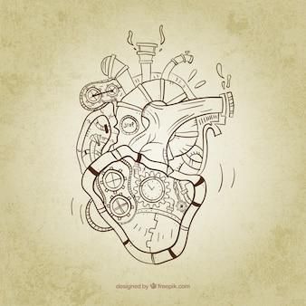 Schetsmatig steampunk hart