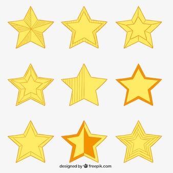 Schetsmatig yellos sterren