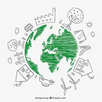 Schetsmatige aarde aarde dag