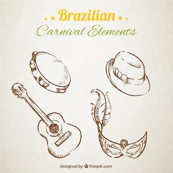 Schetsmatige braziliaanse carnaval elementen