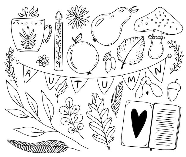 Schetsmatige herfstcollectie met seizoensplanten en knusse spulletjes. hand getrokken seizoensgebonden doodles. bladeren, boek, fruit en theekop.