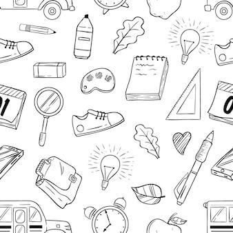 Schetsmatige schoolbenodigdheden of elementen in naadloos patroon