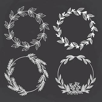 Schetsmatige stijl van cirkel bloemen. beste voor huwelijksuitnodiging of logo
