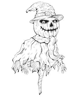 Schetsmatige stijl van enge scarecrow met heks hoed