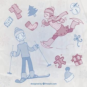 Schetsmatige wintersport tekens