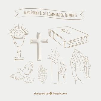 Schetspakket van eerste communie-elementen