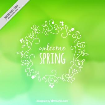 Schetst bladeren en bloemen de lente krans