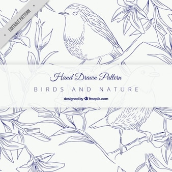 Schetst blauwe vogels op takken patroon
