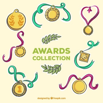 Schetst gouden medailles met kleuren linten
