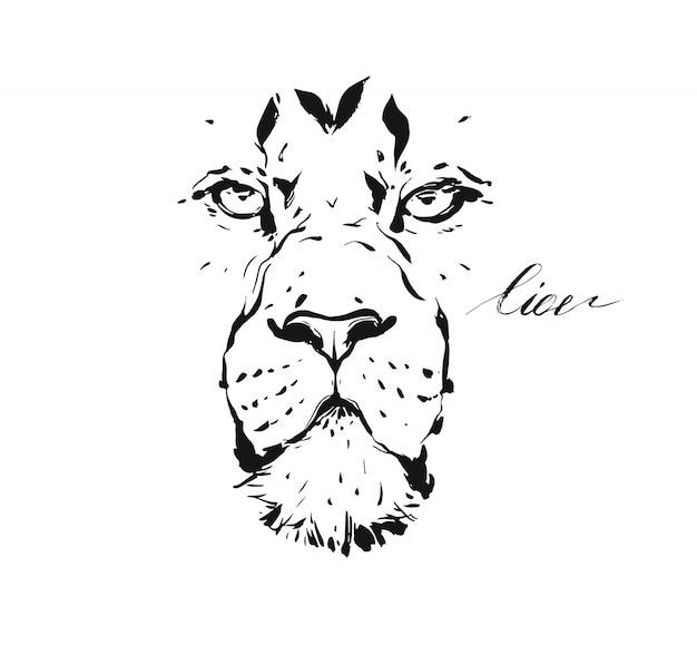 Schetstekening illustratie van dieren in het wild leeuwenkop geïsoleerd op een witte achtergrond