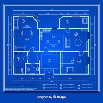 Schetstekening van blauwdrukhuis