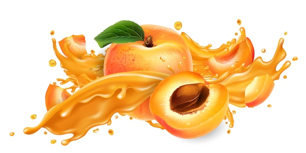 Scheutje vruchtensap en verse abrikozen.