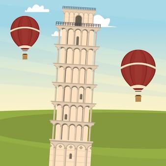 Scheve toren van pisa met hete lucht ballonnen