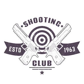 Schieten club logo, vintage embleem, bord met twee pistolen, vectorillustratie