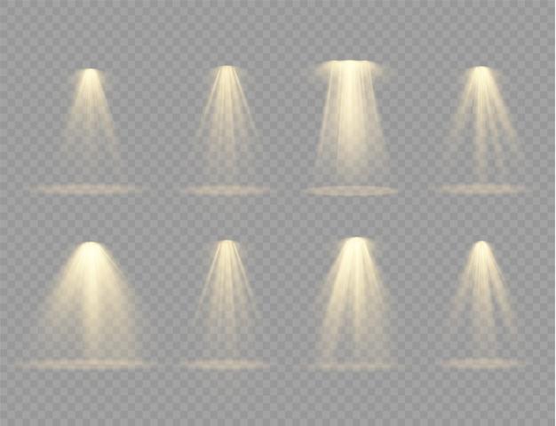 Schijn verticale theaterprojectorstraal. lichtbronnen, concertverlichting, podiumspots.