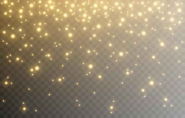 Schijnen. lichteffect, gouden licht. licht uit de lucht. lichten, gouden glans, fonkelingen. png-afbeelding.