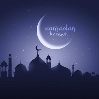 Schijnende maan met moskee eid festival groet