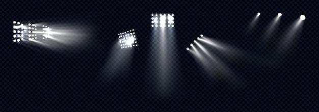 Schijnwerpers, podiumlicht, witte stralen, gloeiende designelementen voor studio