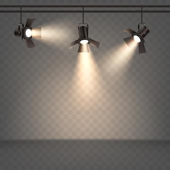 Schijnwerpers realistische illustratie met warm licht