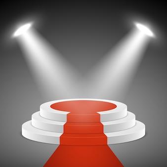 Schijnwerpers verlichten podiumvoetstuk met rode loper. prijsuitreiking vectror