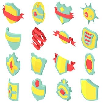 Schild badge pictogrammen instellen. isometrische illustratie van 16 schild badge vector iconen voor web