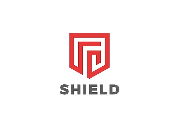 Schild beschermt defensie-logo. lineaire stijl. beveiliging guardian modern heraldic logo