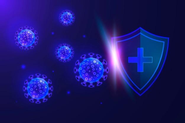 Schild en coronavirus achtergrond