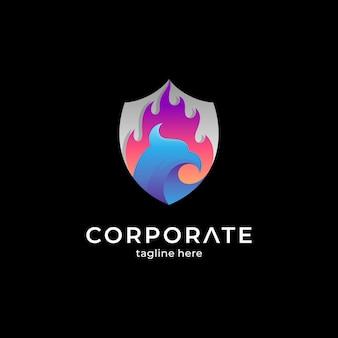 Schild en phoenix creatief logo-ontwerp