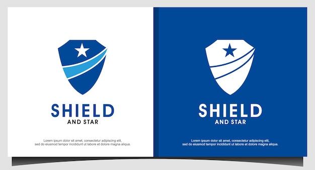 Schild en ster embleem logo ontwerp