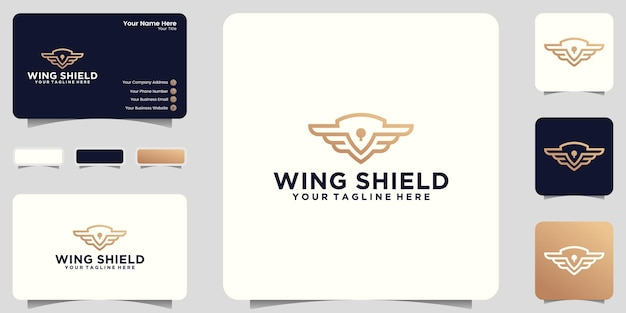 Schild en vleugels logo-inspiratie met lijnkunststijl en visitekaartjeontwerp