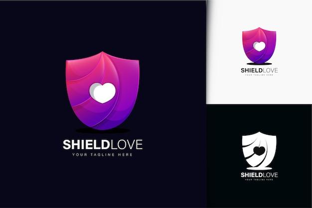 Schild liefde logo-ontwerp met verloop