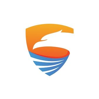 Schild met eagle head logo vector