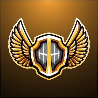 Schild met vleugels mascotte logo