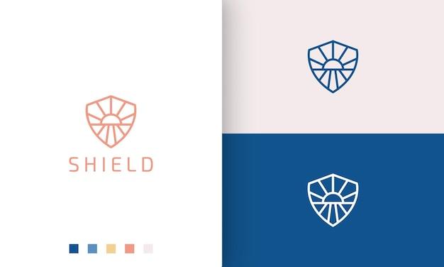 Schild- of beschermingslogo in eenvoudige monolijn en moderne zon-zeevorm in stijl