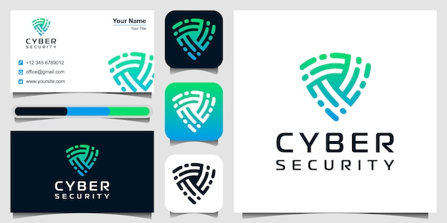 Schild pictogram logo. cyber security-symbool. logo ontwerp en visitekaartje set