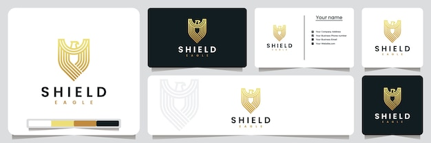 Schildadelaar, met gouden kleur, inspiratie voor logo-ontwerp