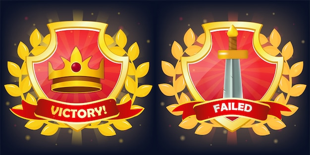 Schilden met overwinning en mislukking banner, kroon en zwaard