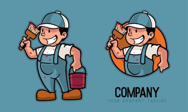 Schilder bedrijf penseel en verfblikken mascotte logo