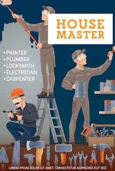 Schilder, elektricien, timmerman en slotenmaker