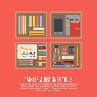 Schilder en ontwerper tools concept