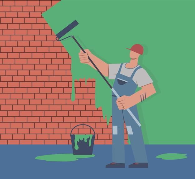 Schilder kleuren muur. reparatie in appartement, man in uniform houdt verfroller in de hand, professionele decorateur mannelijke karakter renoveren huis concept platte vector cartoon geïsoleerde illustratie