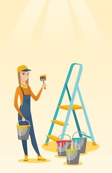 Schilder met verfborstel vectorillustratie.