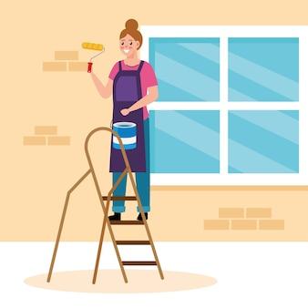 Schilder vrouw met rol en emmer op ladder