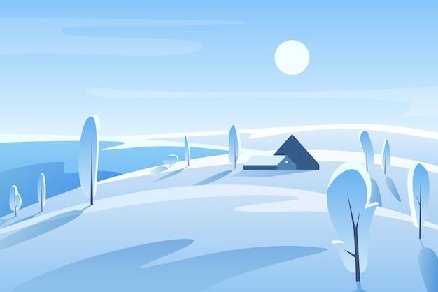 Schilderachtig winterlandschap. huis op besneeuwde heuvel in zonnige dag. landelijk gebied. platteland in de winter. frosty uitzicht op de natuur met bomen. wintertijd buitenscène. seizoensgebonden achtergrond