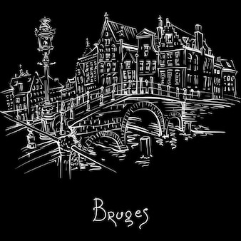 Schilderachtige stad schets, uitzicht op het kanaal van brugge en de brug met prachtige middeleeuwse huizen, belgië. wit op zwart