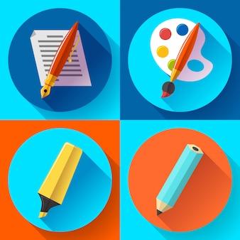 Schilderen en tekenen icons set