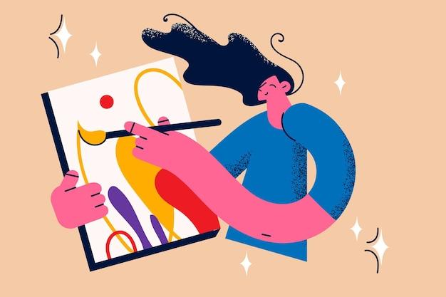Schilderen, tekenen en artwork concept. jonge lachende vrouw kunstenaar permanent maken tekening op canvas gevoel creatieve vectorillustratie