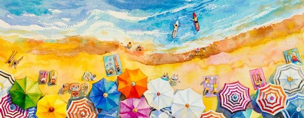 Schilderij aquarel zeegezicht bovenaanzicht kleurrijk van liefhebbers familie vakantie.