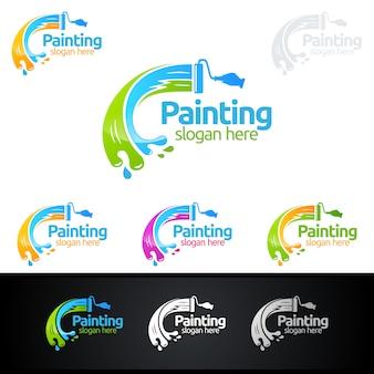 Schilderijlogo met penseel en kleurrijke cirkel concept